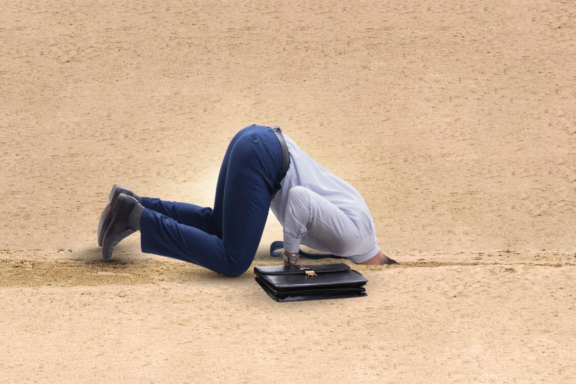 砂に頭を埋めても頭隠して尻隠さずだ