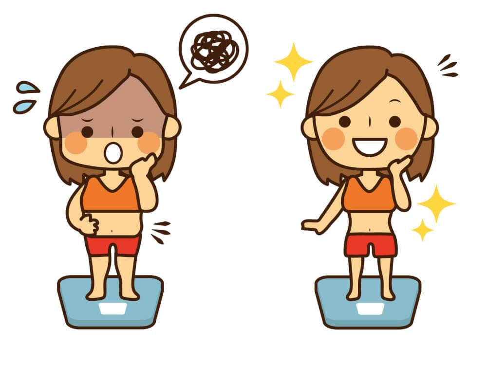 ダイエットで痩せる女性