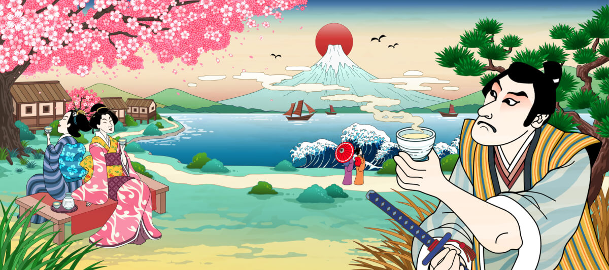 富士山を見ながら日本酒を飲む昔の人々