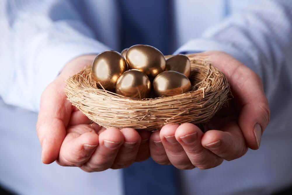 金の卵を持っている