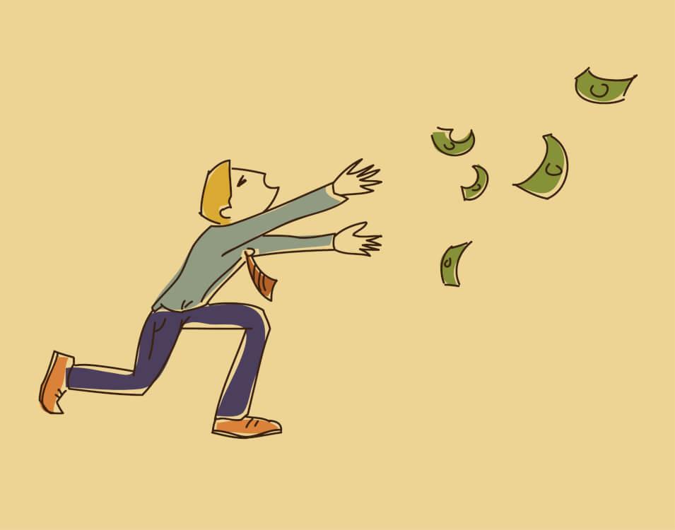 飛んでいくお金を男性が追いかける様子