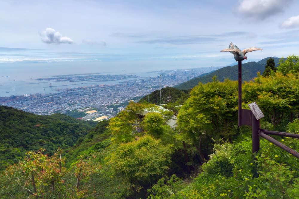 六甲山から市街と海を見下ろした風景