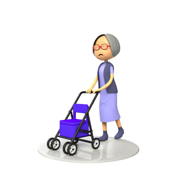 シルバーカーを使う女性
