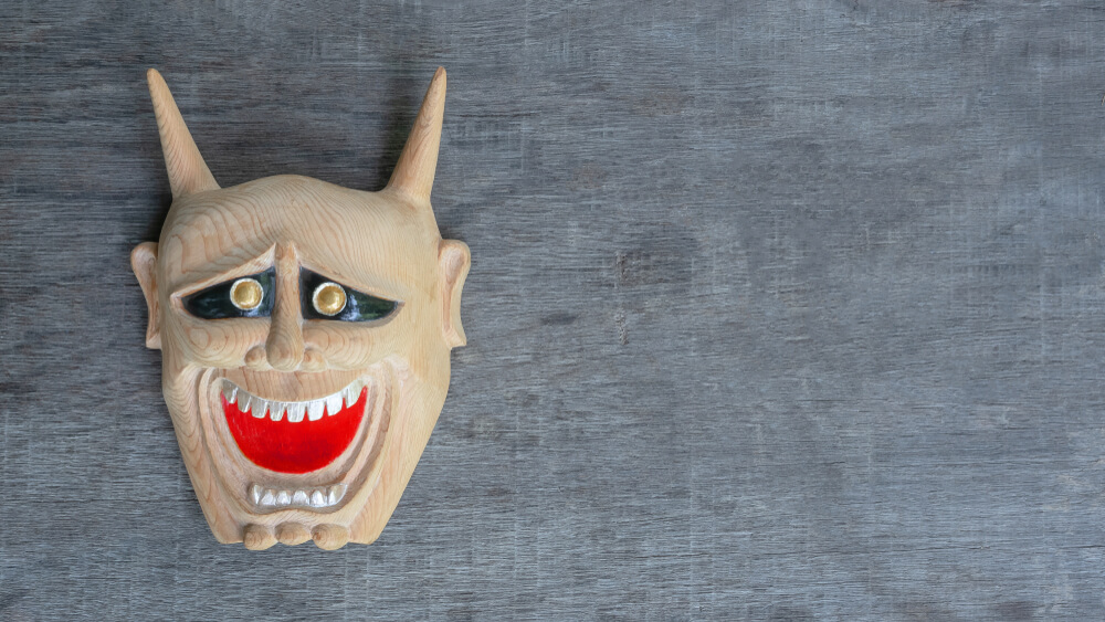 鬼も笑顔の面