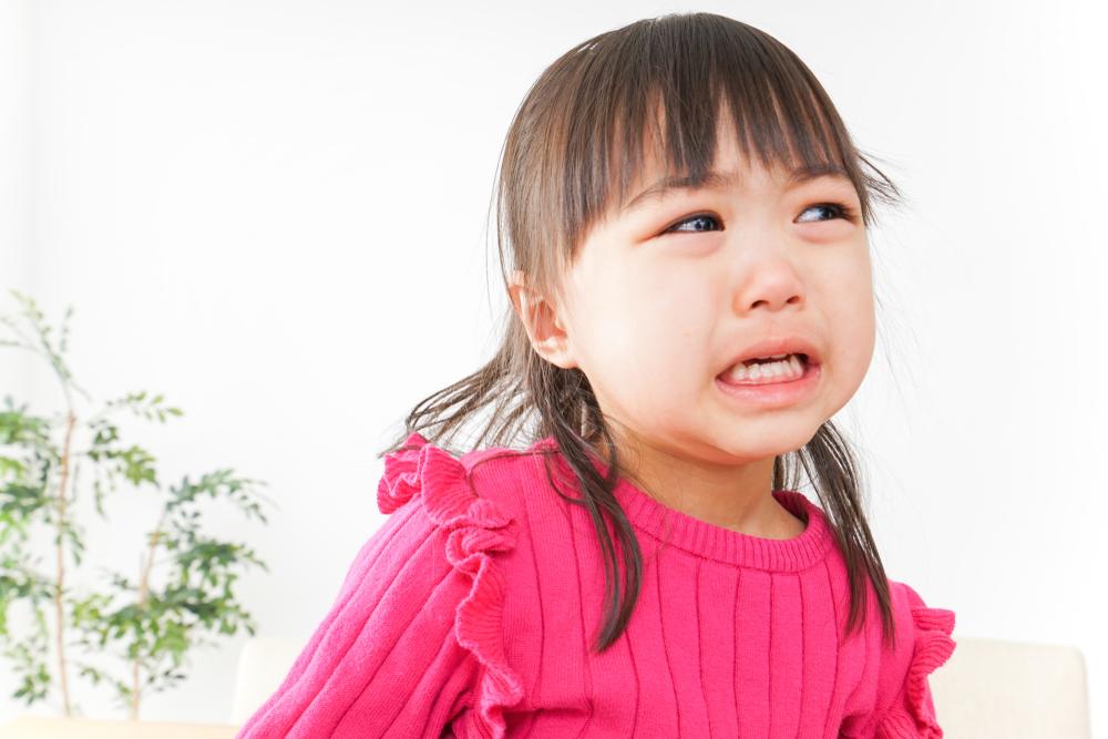泣きっ面に蜂でさらに大きく泣く少女