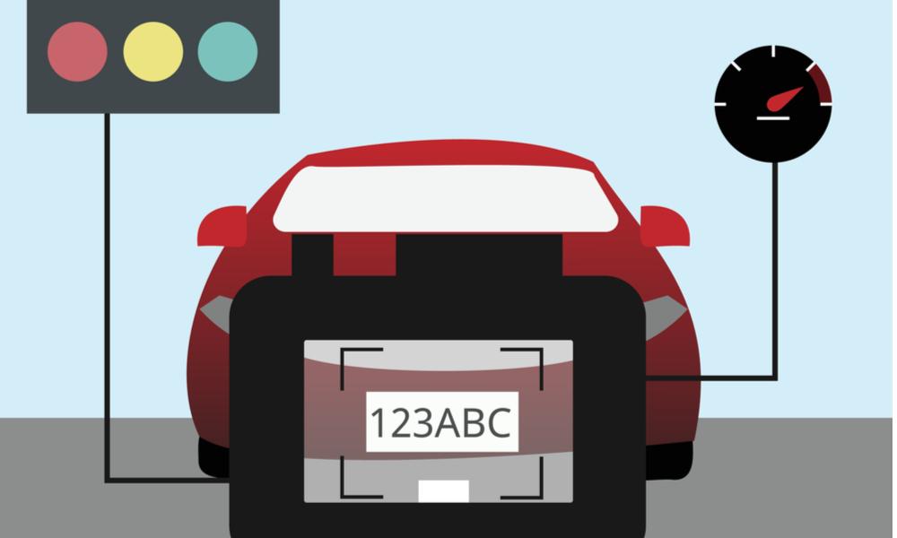 Nシステムによりナンバープレートを認識。
